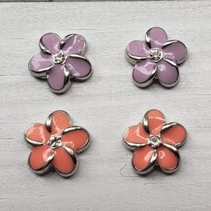 4 Origami Owl Flower Charms Purple Salmon Crystal